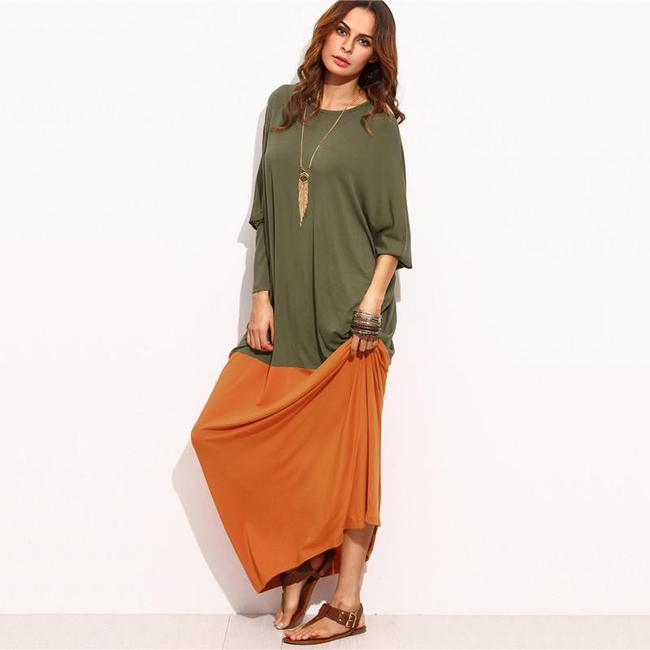Two Tone Loose Maxi Dress