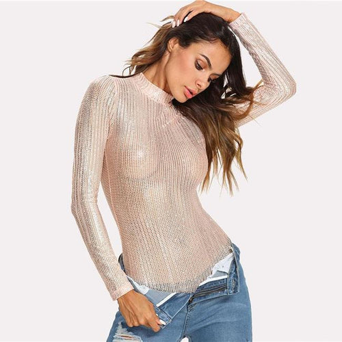 Indira Stand Collar Metallic Bodysuit