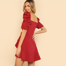 Puff Sleeve V Neck Ruffle Trim Dress - Red