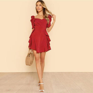 Puff Sleeve V Neck Ruffle Trim Dress - Red - asdddddddddddddddddddddddddddddddddddddddd