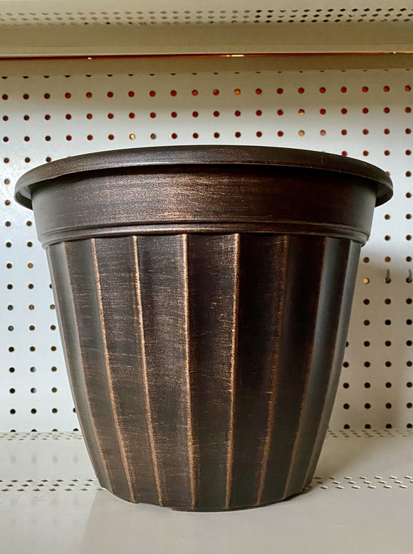 DECORATIVE POT, ROUND ANTIQUE COPPER