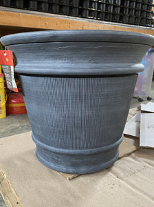 DECORATIVE POT, ROUND BRUSHED SLATE