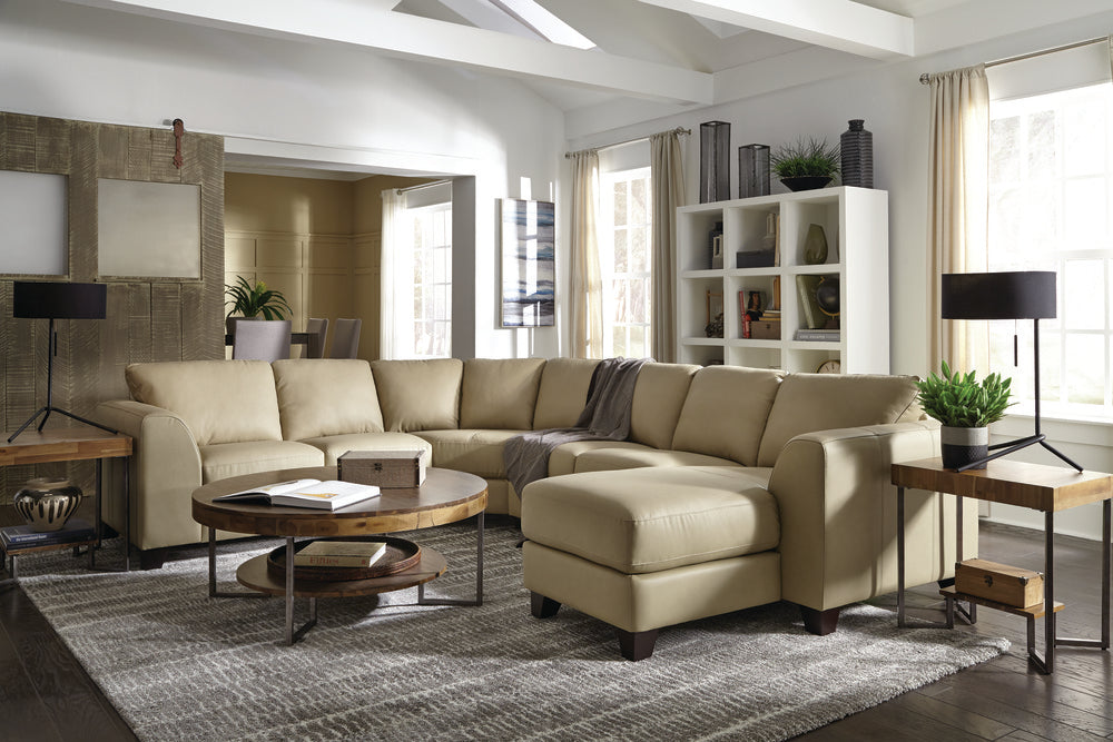 Juno - example living room w/ Left Arm Sofa W/ Return, Armless Loveseat, Right Arm Chaise
