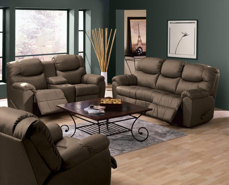 Regent - example living room w/ 3 cushion sofa, Loveseat w/ home theater wedge and Armchair