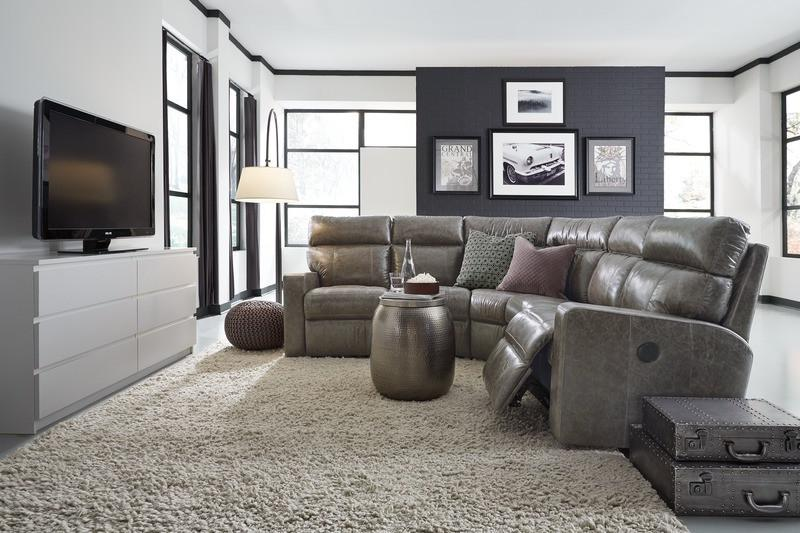 Oakwood - example living room w/ Left Arm Powered Loveseat, Armless Chair, Corner, Armless Chair, Right Arm Powered Loveseat