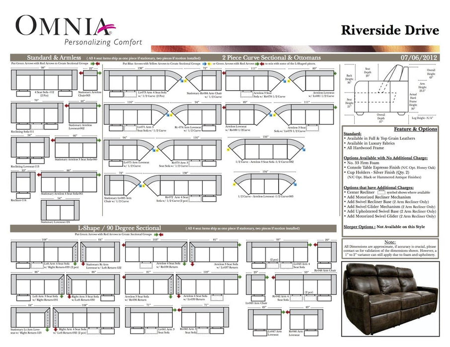 Omnia Riverside Drive Sectional - leatherfurniture