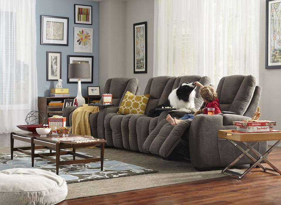 Media - example living room w/ Reclining 4 Cushion Sofa w/ 2 Straight Console Arms