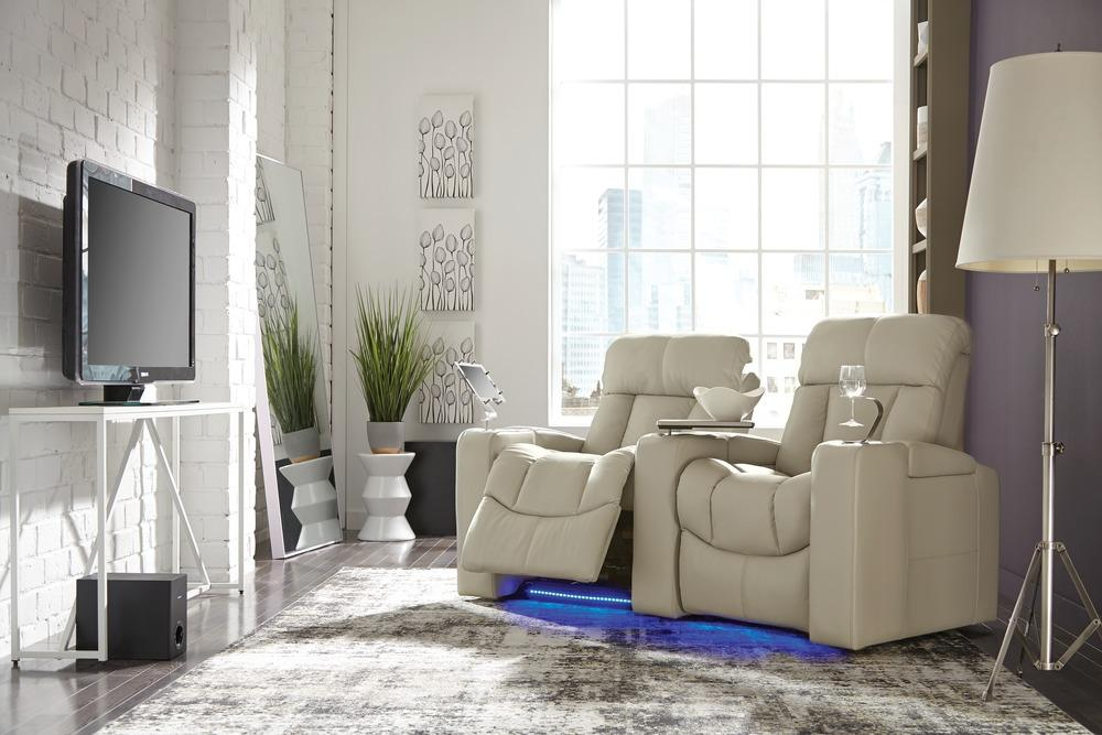 Paragon - example living room w/ Powered Reclining Loveseat w/ Straight Console Arm