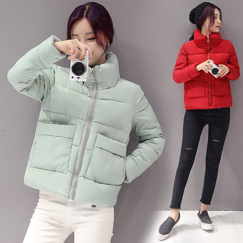 Winter Women Thick Solid Cotton Padded Jacket