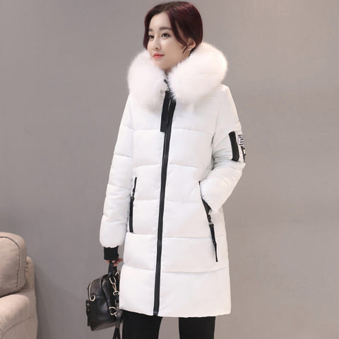 New Fashion Women Winter Jacket With Fur Collar Warm Hooded