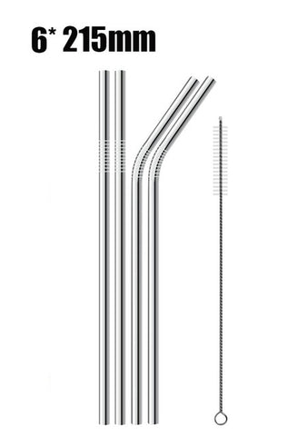 High Quality Stainless Steel Reusable Drinking Straw W. Cleaner Brush