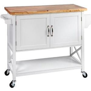 Hampton Kitchen Island Solid wood Counter Top - White