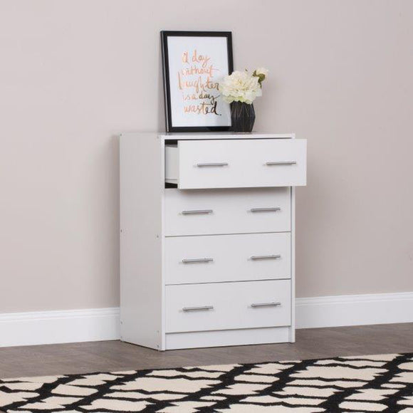 Aria Classic Chest of 4 Drawers - White