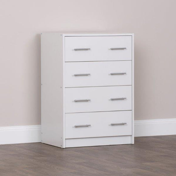 4 Drawers Chest in White Finish