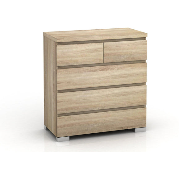 2+3 Drawers Tall Chest in an improved oak-effect finish