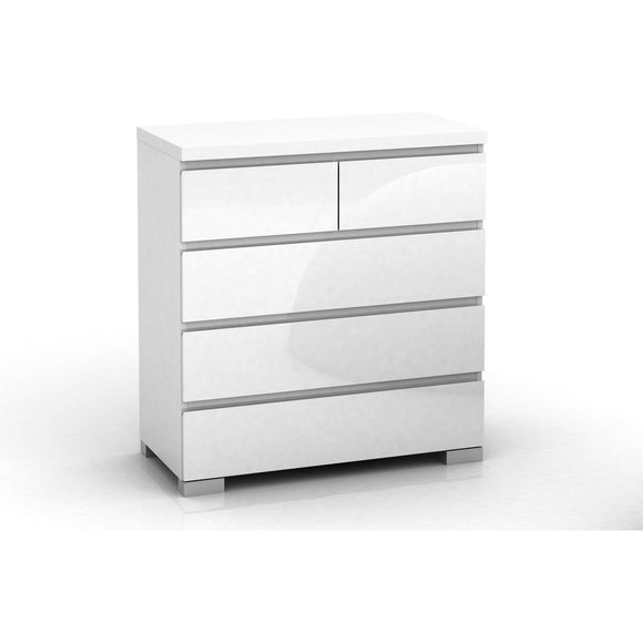 2+3 Drawers Tall Chest in High Gloss White finish
