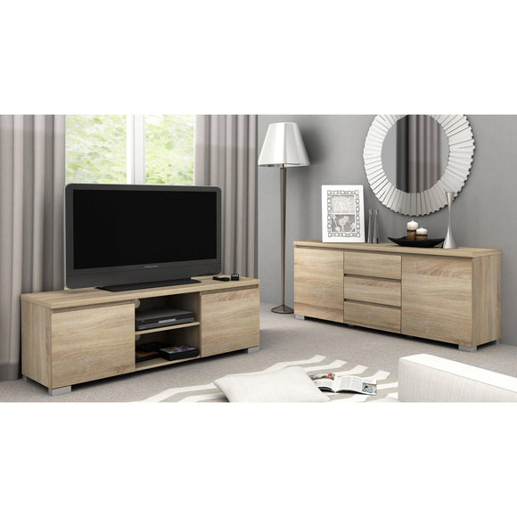 Elara Buffet - Light Sonoma Oak or White Gloss