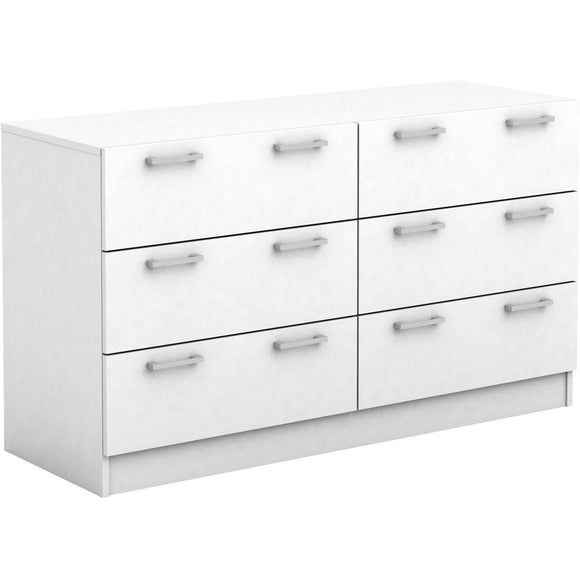 Tribecca 6 Drawer Dresser Lowboy Chest in White Finish
