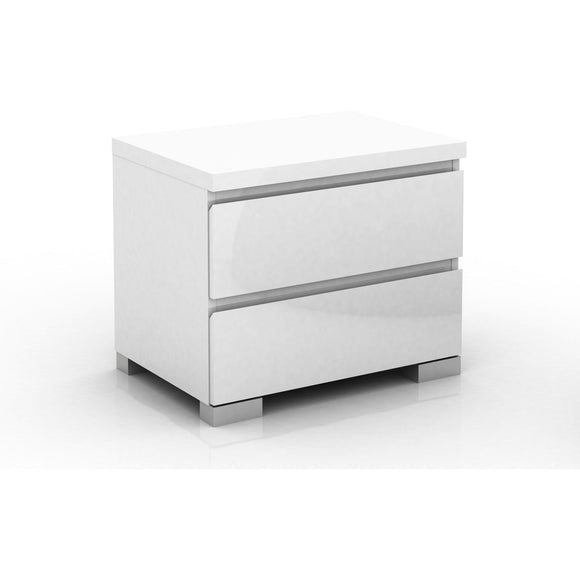 Elara 2 Drawer Bedside Table High Gloss White
