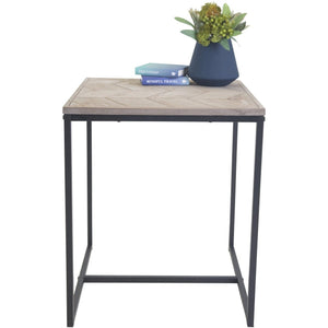 AVOCA Wooden Side Table with Black Metal Legs