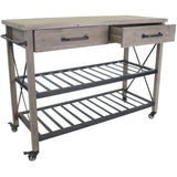 Antique Finish Wooden Kitchen Trolley