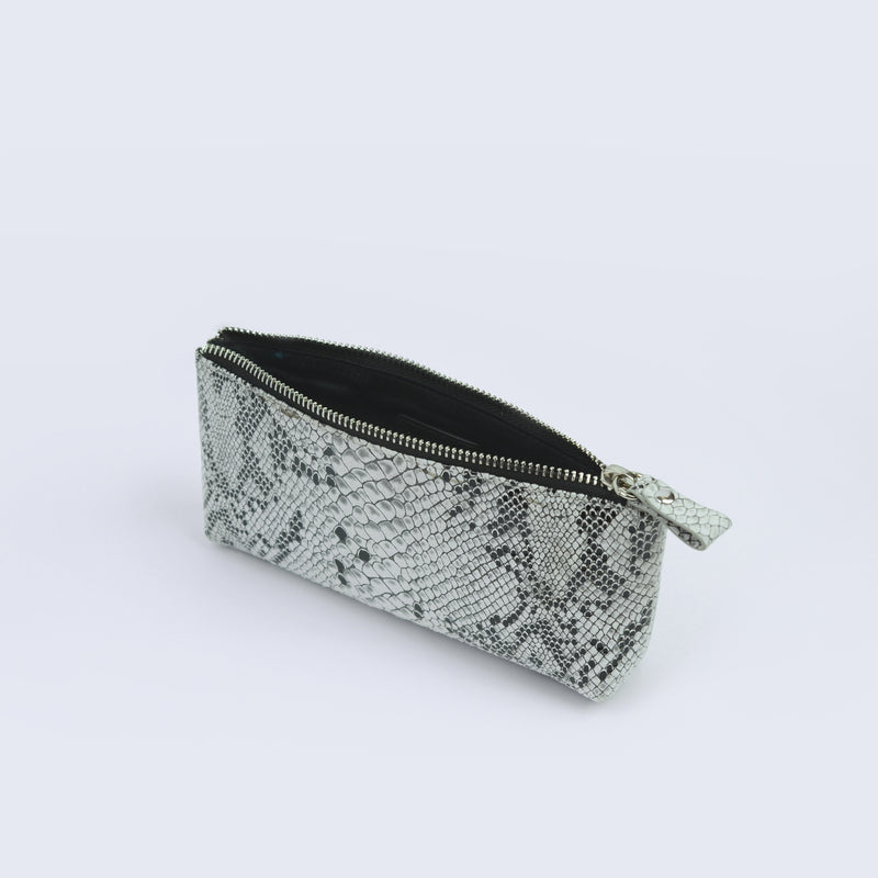 Monochrome Faux Snake Skin Make Up Pouch