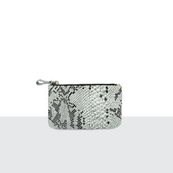 Monochrome Faux Snake Skin Medium Pouch