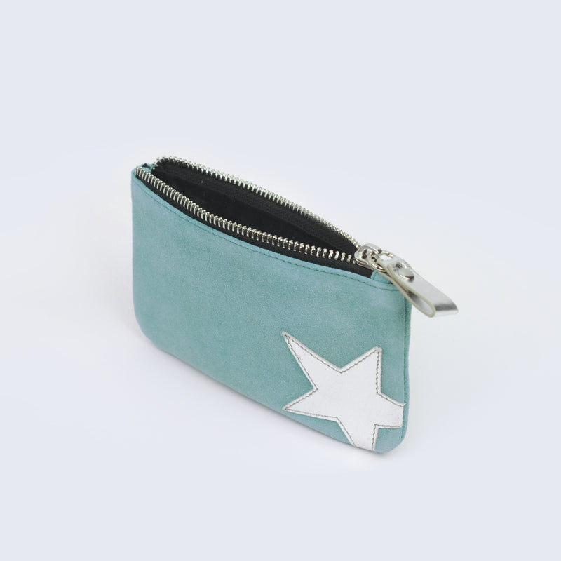 Aqua Suede Big Star Pouch