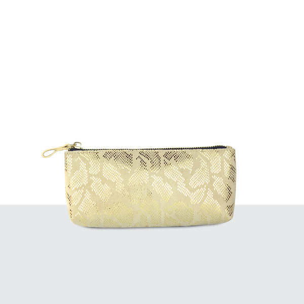 Gold Faux Snake Skin Make Up Pouch
