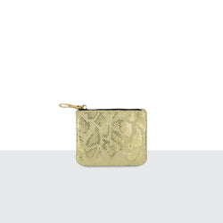 Gold Faux Snake Skin Credit Card Pouch