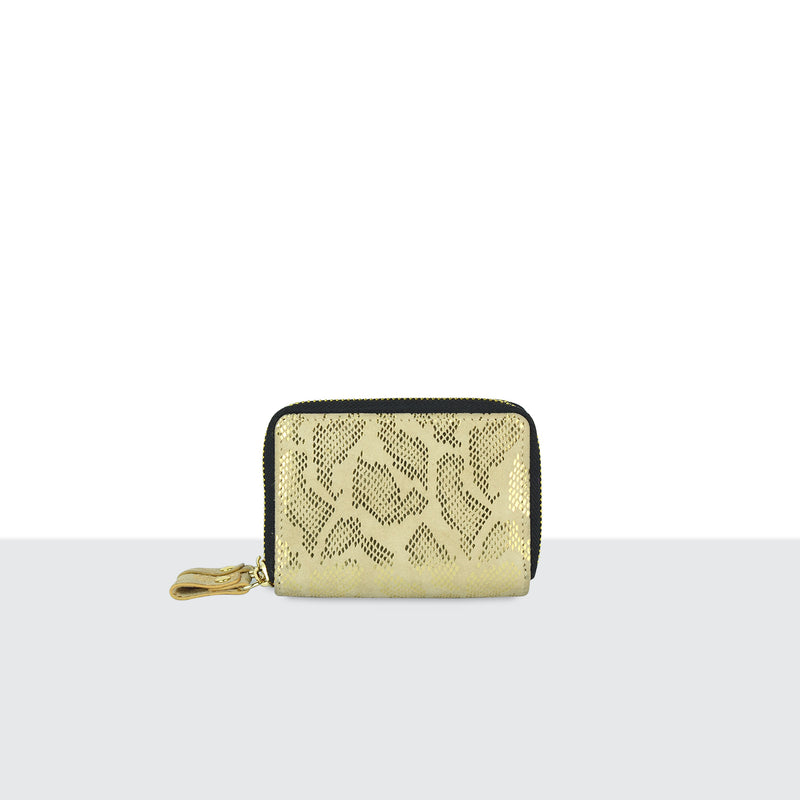 Gold Faux Snake Skin Double Zip Purse