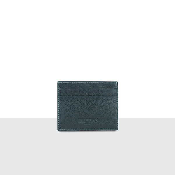 Mens Pitch Black Pebble Leather Compact Credit Card Sleeve