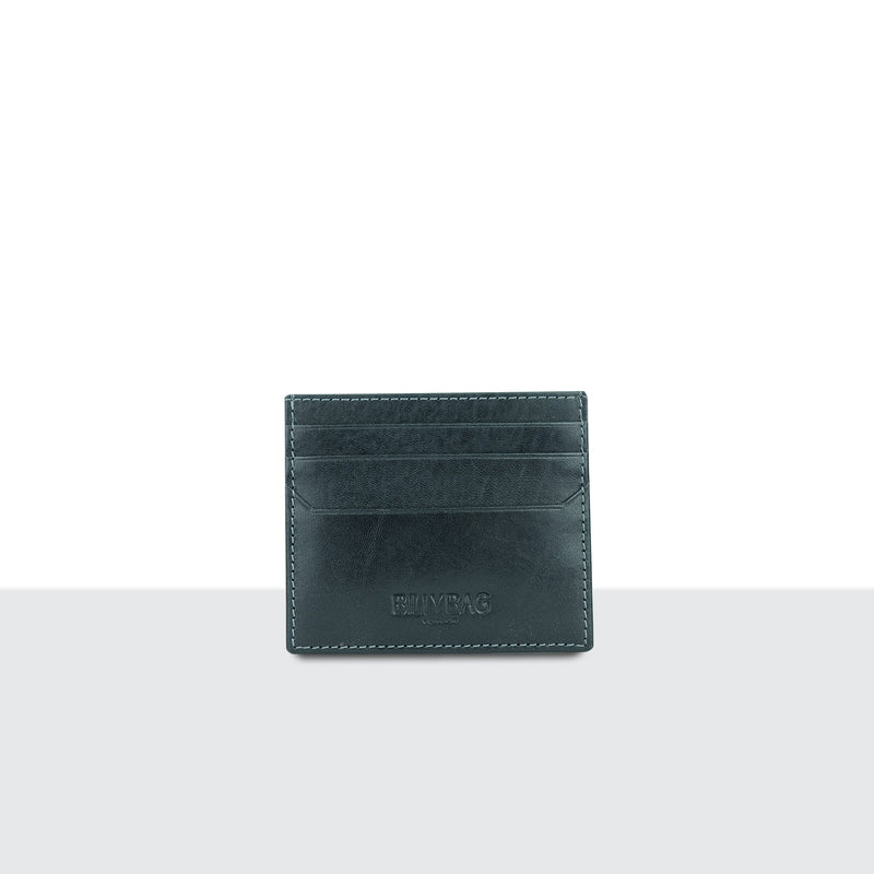 Mens Pitch Black Leather Credit Card Sleeve