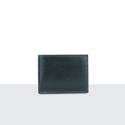 Mens Pitch Black Leather Long Fold Wallet