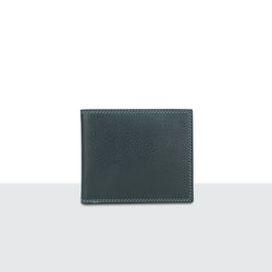 Mens Pitch Black Pebble Leather Long Fold Wallet
