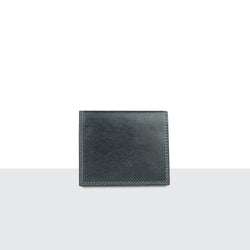 Mens Pitch Black Leather Compact Fold Wallet