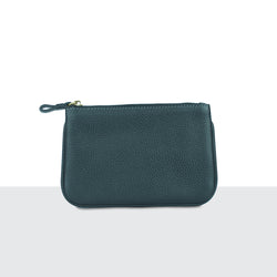 Mens Pitch Black Pebble Leather Zip Pouch