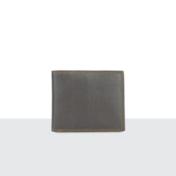 Mens Brown Pebble Leather Long Fold Wallet