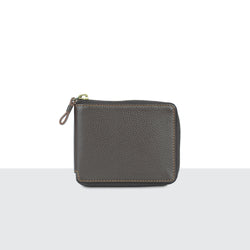 Mens Brown Pebble Leather Zip Wallet