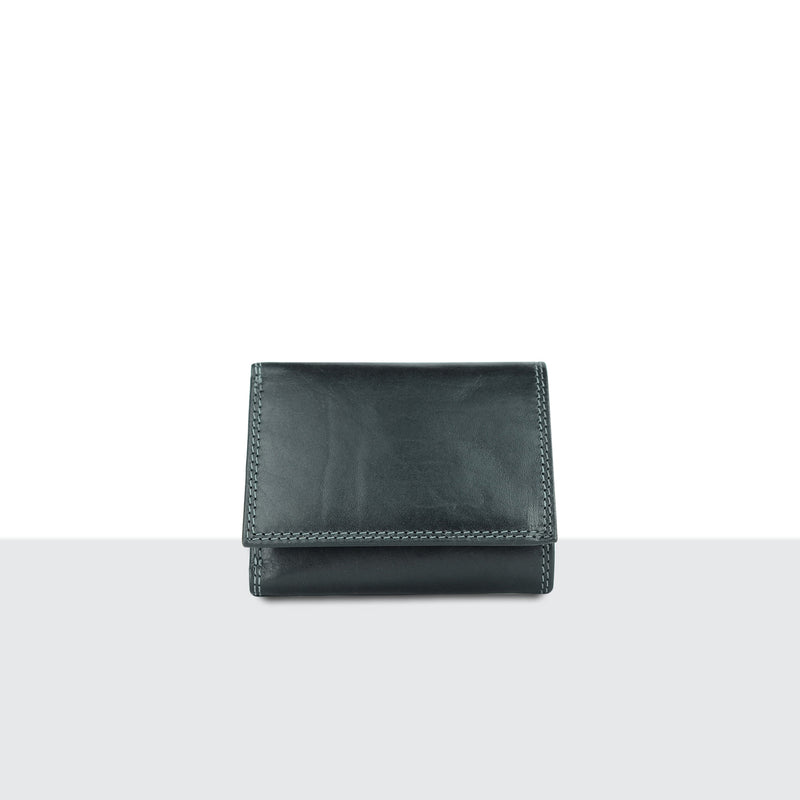 Mens Pitch Black Leather Large Fold Wallet