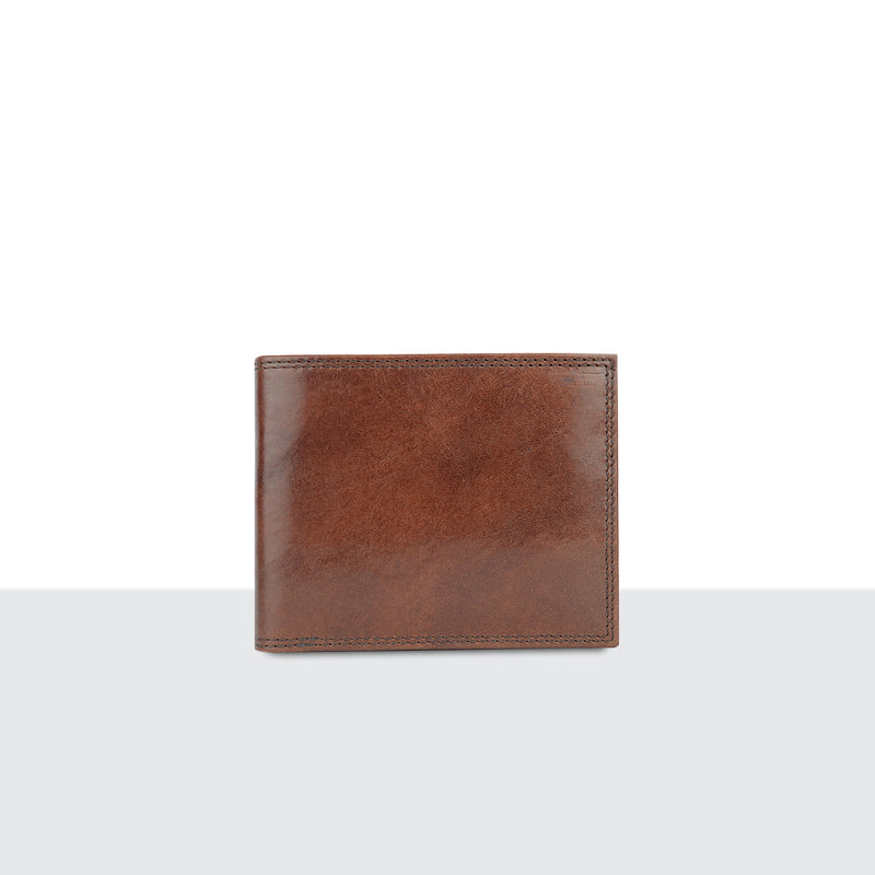 Mens Tan Leather Long Fold Wallet