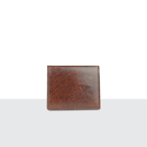 Mens Tan Leather Compact Fold Wallet