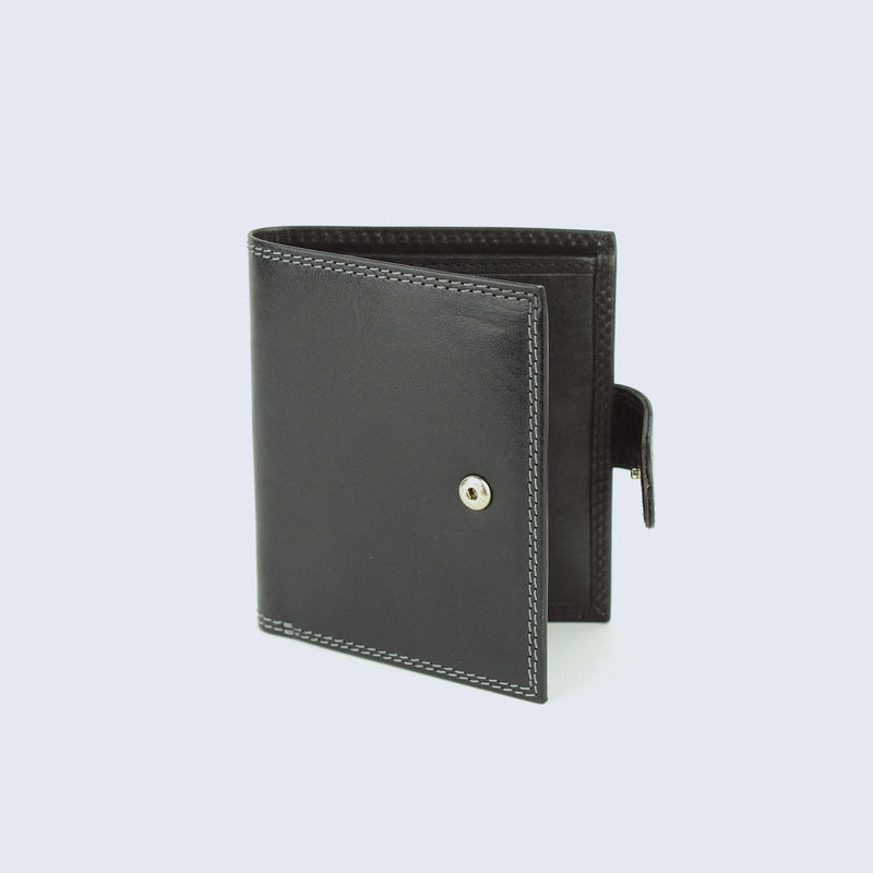 Mens Pitch Black Leather Fold Wallet