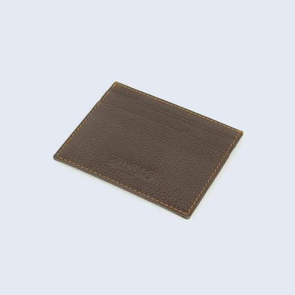 Mens Brown Pebble Leather Compact Credit Card Sleeve