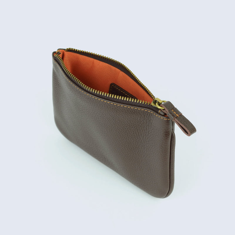 Mens Brown Pebble Leather Zip Pouch