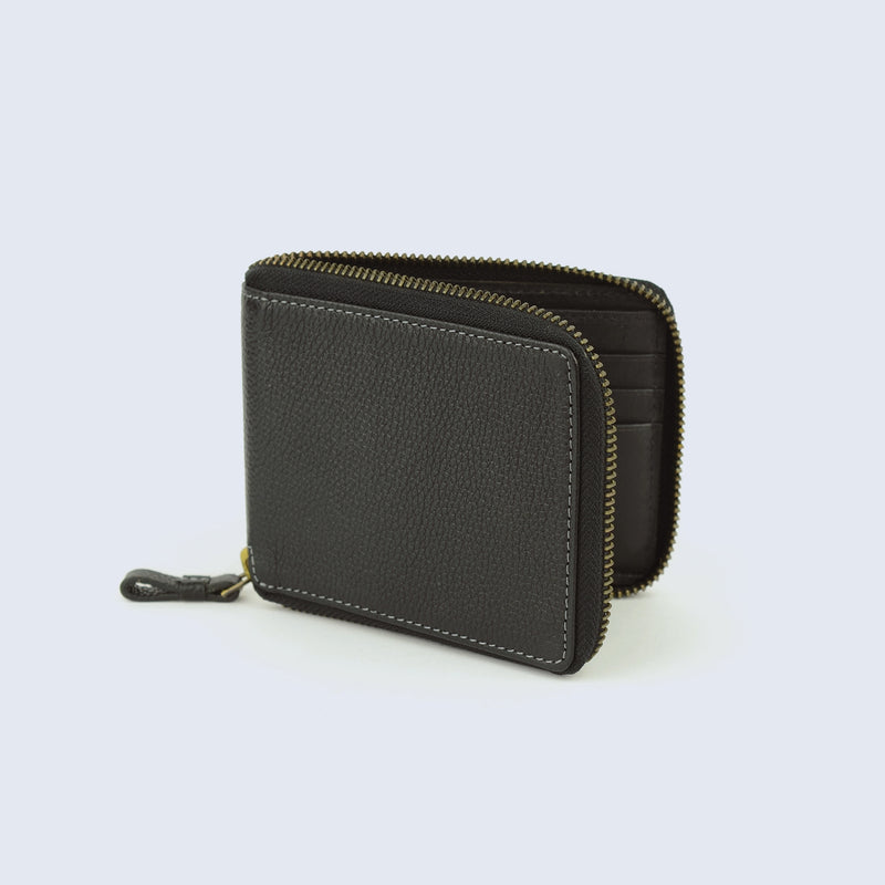 Mens Pitch Black Pebble Leather Zip Wallet