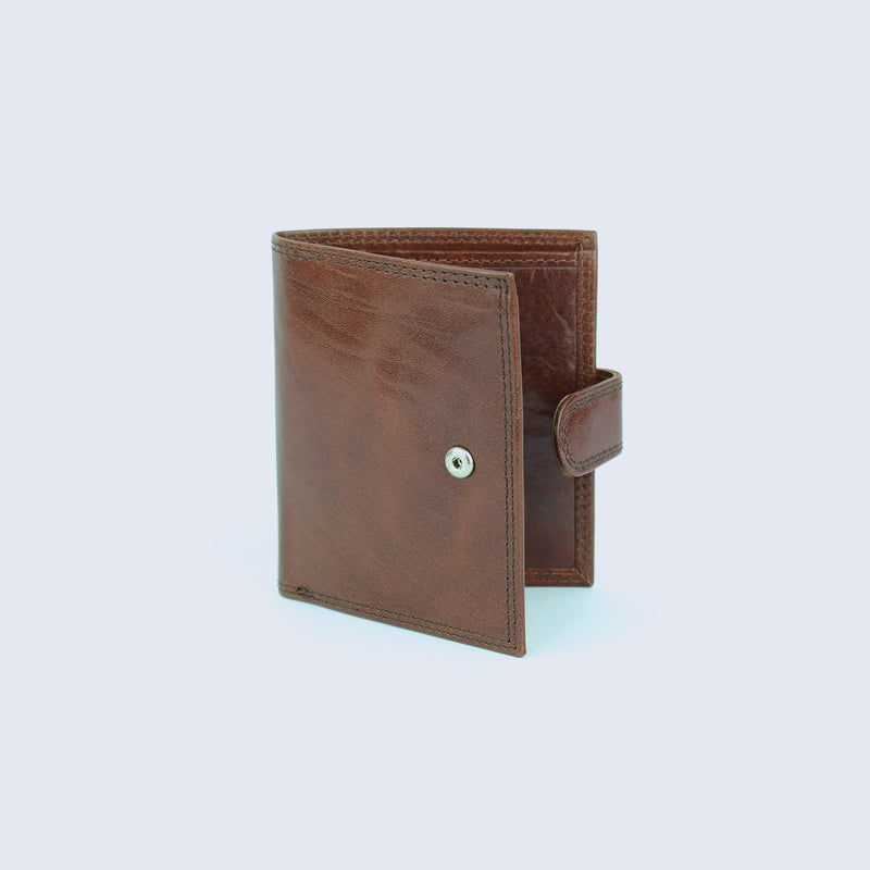 Mens Tan Leather Fold Wallet