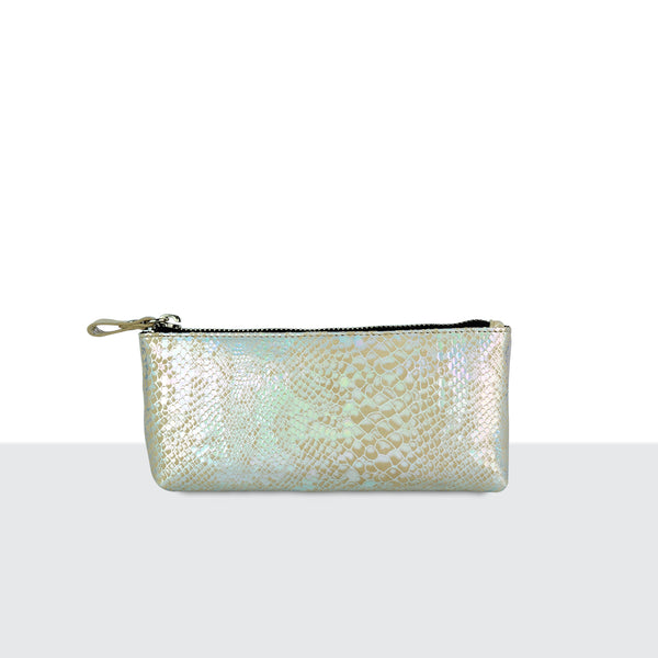 Pearl Faux Snake Skin Make Up Pouch