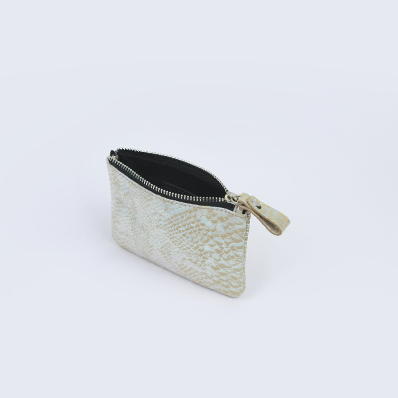 Pearl Faux Snake Skin Credit Card Pouch
