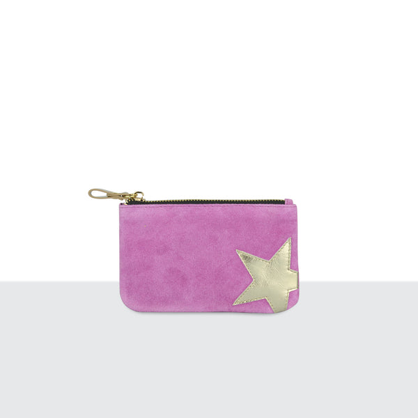 Pink Suede Big Star Pouch